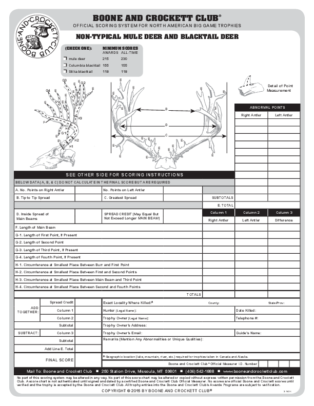 Download B C Score Chart Pdfs Boone And Crockett Club